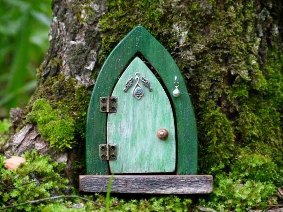 Opening Wooden Fairy Door Green Fairy Door with by Smallhavens