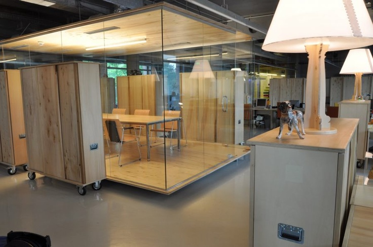 mobile office design glass cube conference room