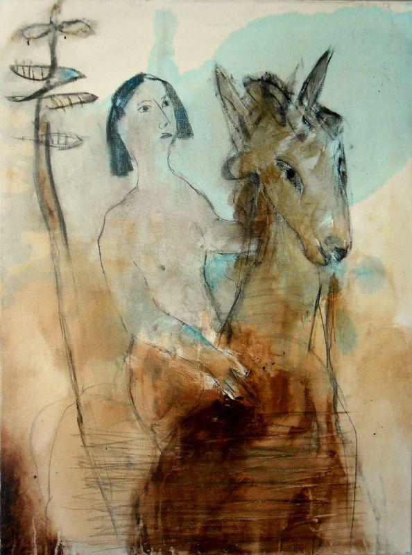 Acrílico sobre tela 80x60 by Alberto Péssimo. A pergunta de Stevens, poema de Eugénio de Andrade