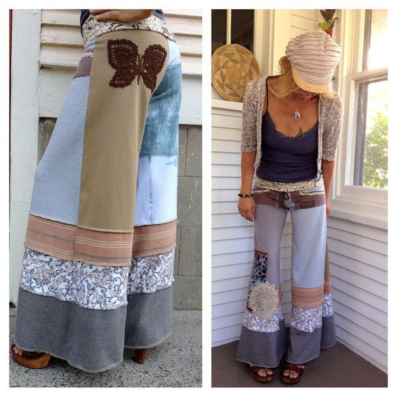 Eco Gaucho Pants patchwork clothing upcycled