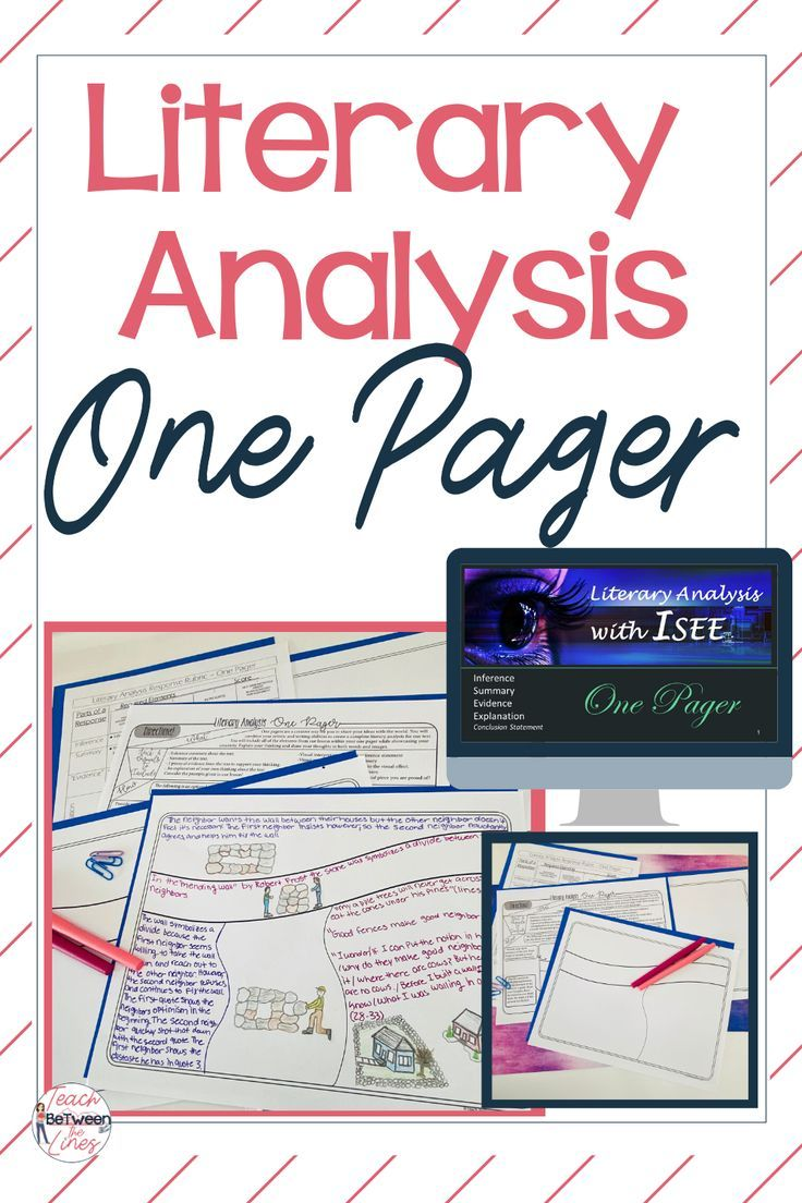 Literary Analysis One Pager Teaching writing, School