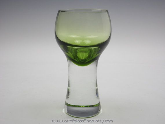 Caithness Glass 'Canisbay' green coloured drinking glass