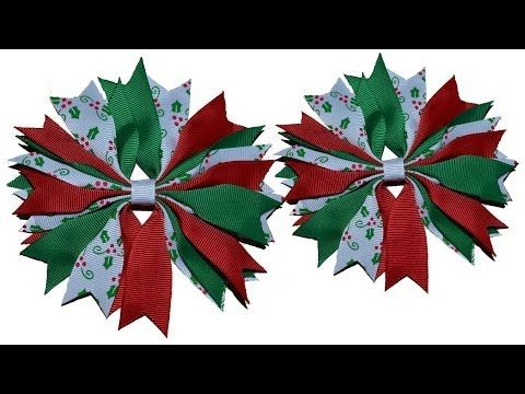 ▶ How To Make A Ribbon Spike Pinwheel Hair Bow Tutorial - YouTube