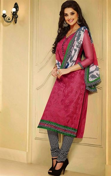 Picture of Alluring Salmon Color Indian Salwar Kameez