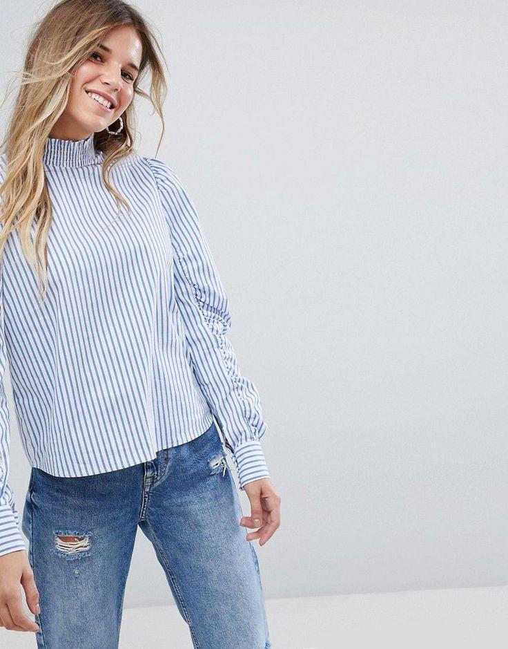 Bershka Stripe Ruched Sleeve Blouse - Multi