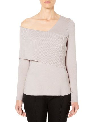 Asymmetric Rib Shoulder Knit Witchery David Jones