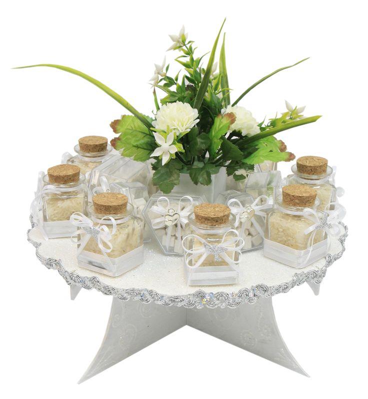 Centro de mesa para boda base de madera color blanco con for Bases para mesas de centro
