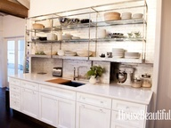 Luscious kitchens - mylusciouslife.com - Metal wall shelves instead of wall cabinets  Mick De Giulio Kitchen of the Year - The 2012 Kitchen of the Year - House Beautiful