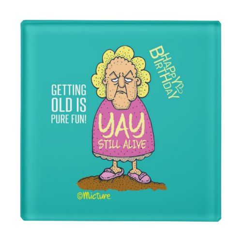 Yay, Still Alive - Grumpy old lady blue cartoon Glass Coaster