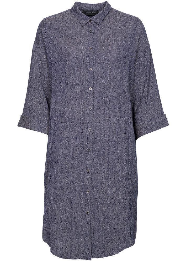 Storm & Marie Kjole blå 0007 Bille LSH Long Shirt walnut-total eclipse melange – acorns