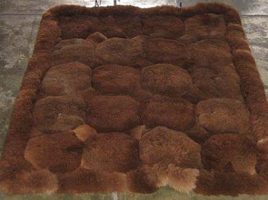 Dunkel brauner Alpaka Fellteppich, aus den Anden Perus