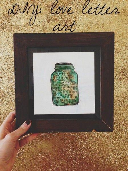 DIY love letter art. easy & cheap christmas present!