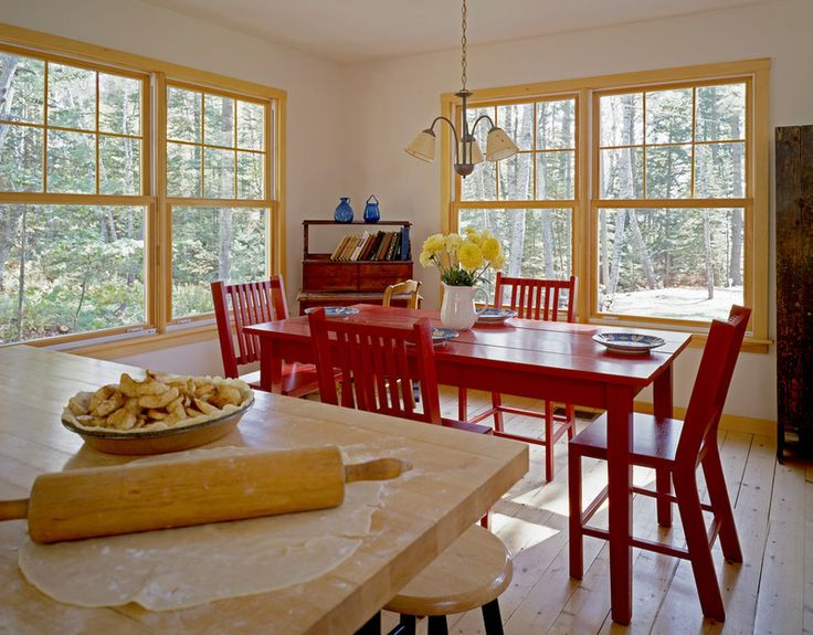 Bright Red Dining Table With Warm Yellow Window Frames Rustic Room By Whitten Architects