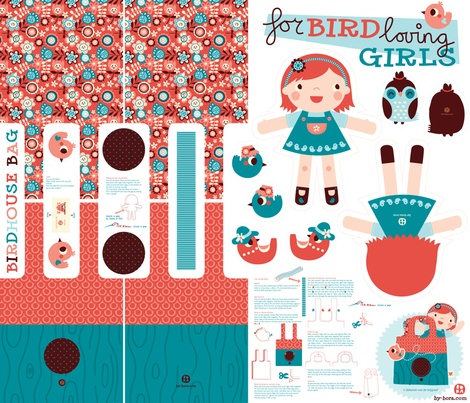 Little Birdhouse Bag fabric by bora on Spoonflower - custom fabric: Birdhouses, Sew, Craft, Bird Loving, Doll, Spoonflower, Birdhouse Bag, Fabrics, Bags