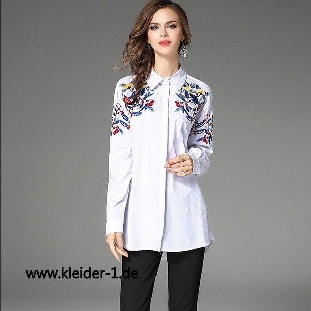 Damen Bluse in Weiss mit Stickerei