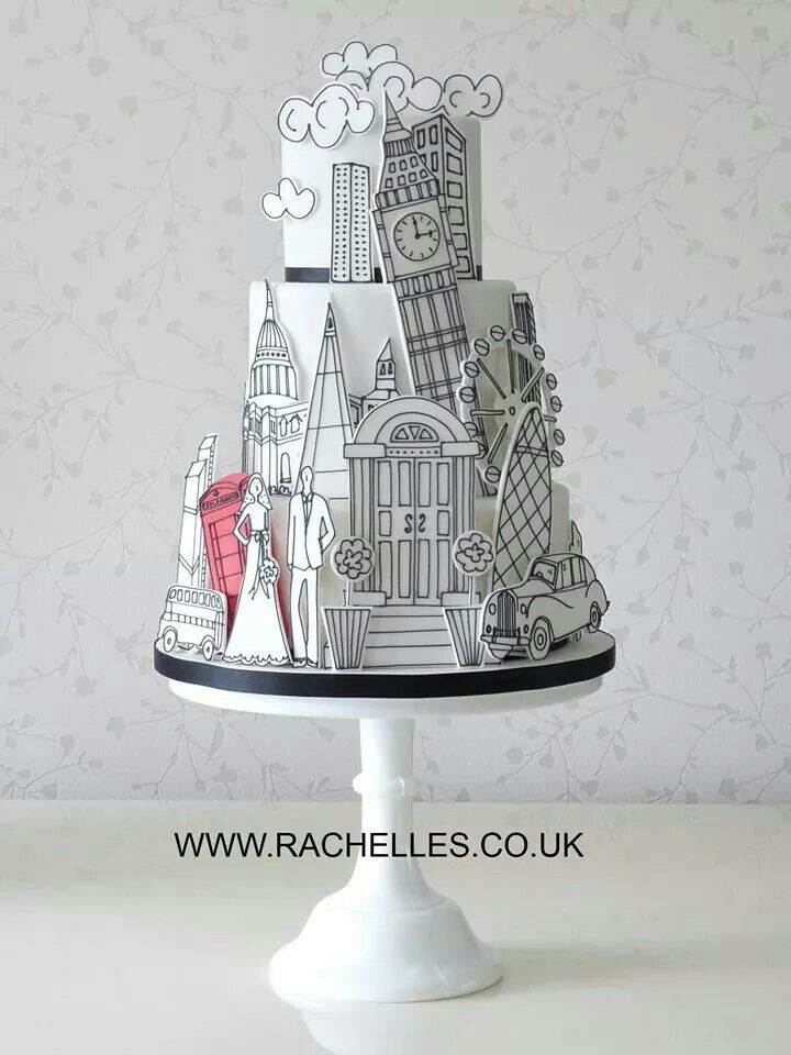 I love everything about this cake!!!! --- London Wedding Cake!