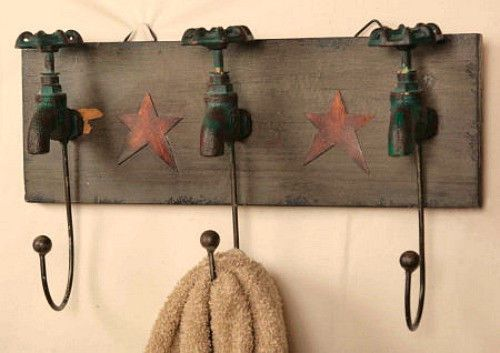 Primitive Country Bathroom Garden Faucet Hooks Towel Rack Holder | eBay
