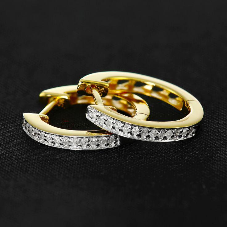 9ct Yellow Gold 16mm Diamond Huggie Earrings - Purejewels.com.au $266