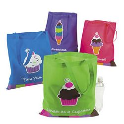 Sweet Treats Cupcake Tote Bag. These colourful bags are so cute, you'll want to take them everywhere! A great gift bag alternative.  Nonwoven polyester.  40.6cm