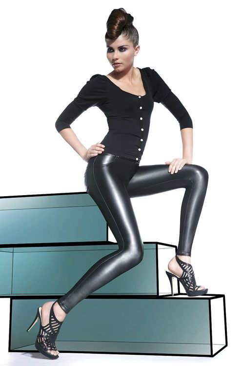 These smooth, black, faux leather leggings are both comfortable and fashionable. Designed with style, these leggings have beautiful texture as well as a sleek, sexy look. With the subtle creation of imitation front pockets and fly and the back patch pockets, these leggings have a classic trouser style. Perfect for almost any occasion, these imitation […]
