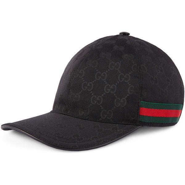 bb099eab Gucci Original Gg Canvas Baseball Hat With Web ($295) ❤ liked on Polyvore  featuring men's fashion, men's accessories, men's hats, accessories, black,  ...