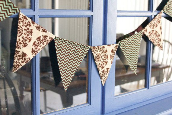 Chevron Teal, Brown, Ivory Patterned Fabric Banner