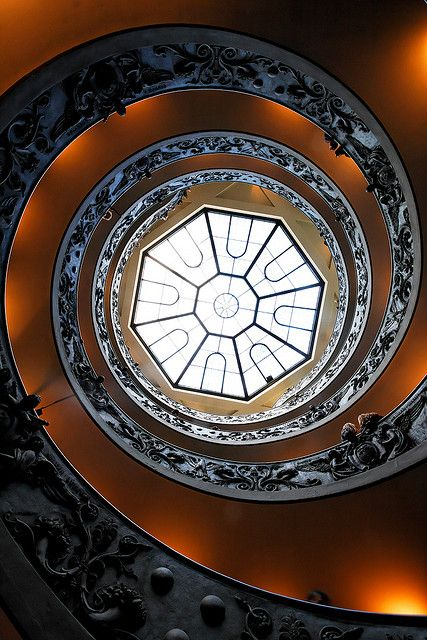 spiral stairs with carvings Campo Marzio, Rome..., province of Rome, Lazio region , Italy