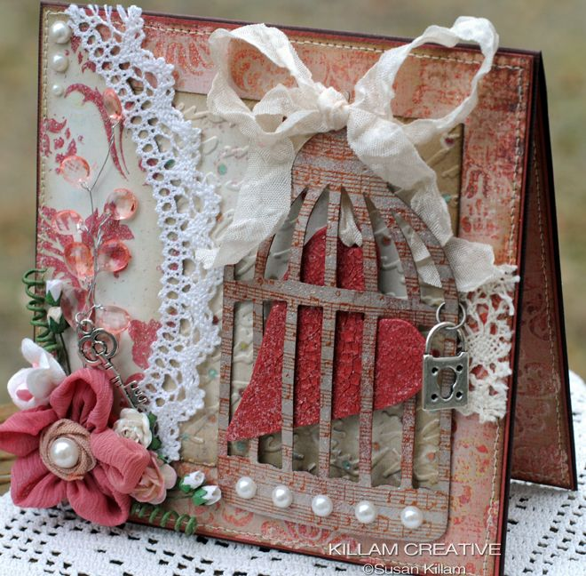 Here's a creative way to use and add the birdcage die to a card; lovely