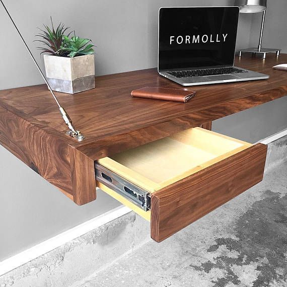 Wall Mounted Floating Desk With Storage Walnut Floating Desk Attic Renovation Desk Storage