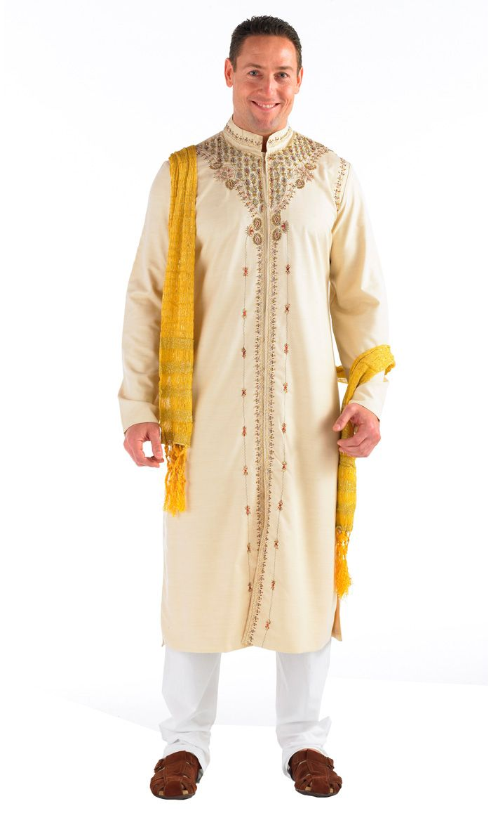 This men's Kurta Sherwani is great for that special occasion. The 3 piece set includes: Kurta, Pants, and Shawl. Fabric Polyester cotton blend with 100% cotton pants
