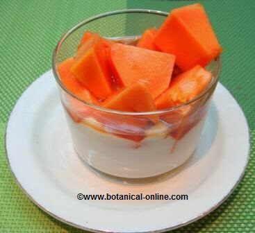 Yogur con papaya para la flora intestinal.