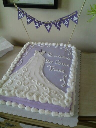 Bridal Shower Sheet Cake With A DIY Banner With Bride's