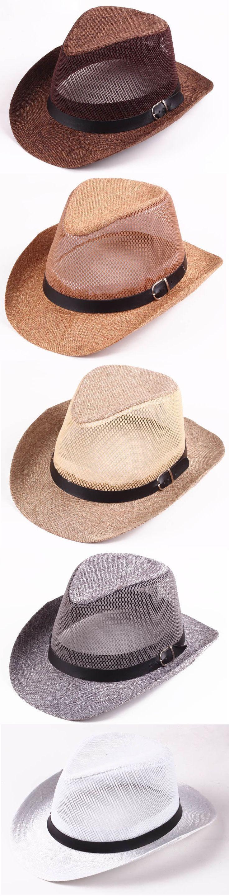 US$6.24 Men Hollow Out Mesh Top Hat Wide Brim Casual Braid Fedora Beach Sun Flax Panama Jazz Hat
