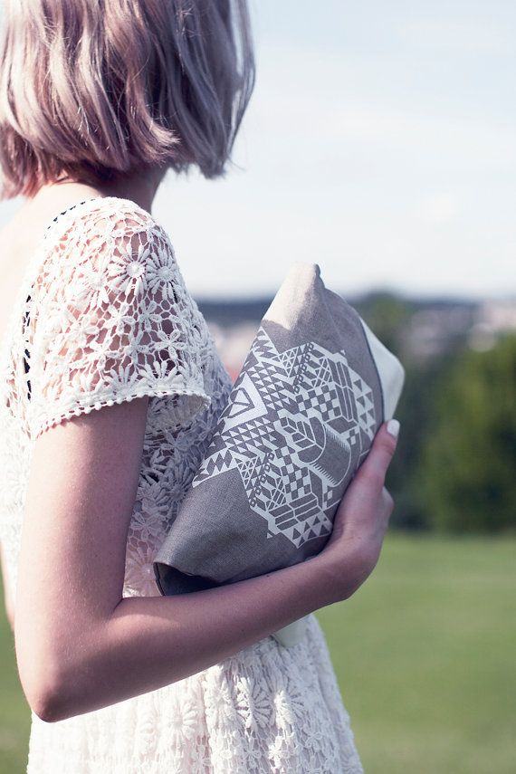 Geometrical Illusion Printed  Leather Pouch by CORIUMI
