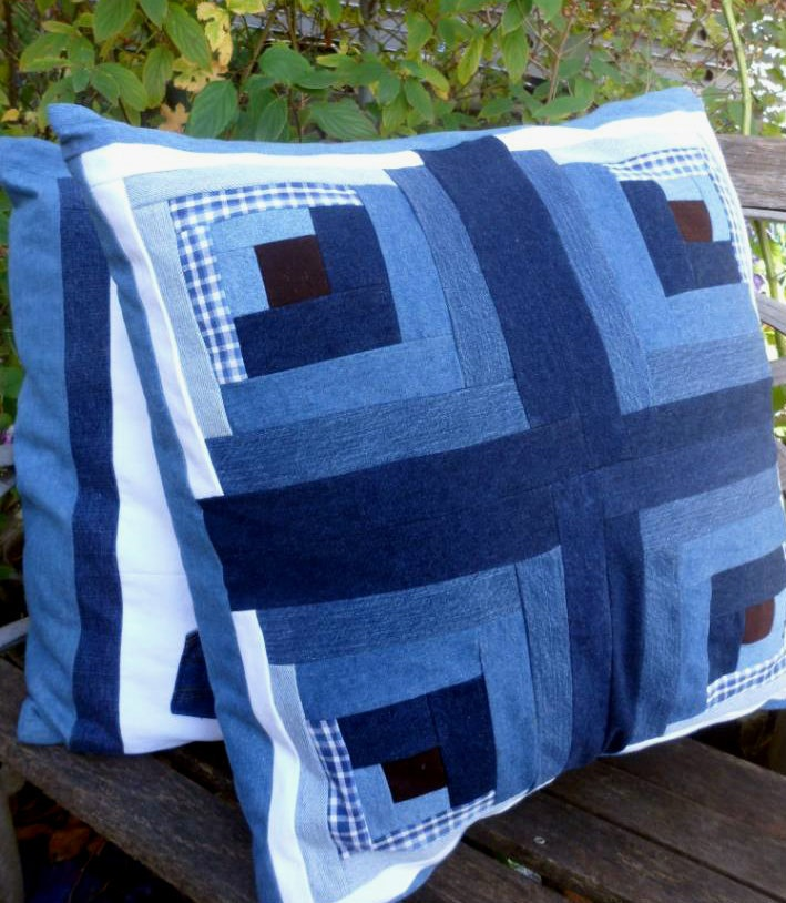 Blue and Brown Jeans Pillow.via Etsy.
