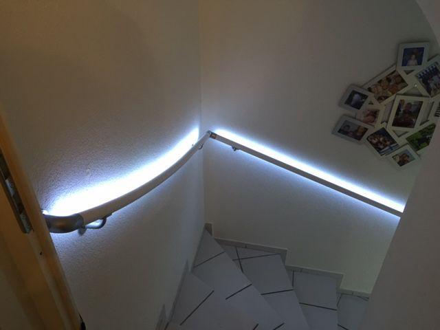 Vintage Flexo LIGHT Handlauf gebogen mit LED Beleuchtung Ob Stilvoller Lichteffekt oder sinnvolle