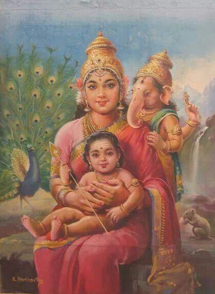 Baby Ganesh and Sakand with Maa Gauri