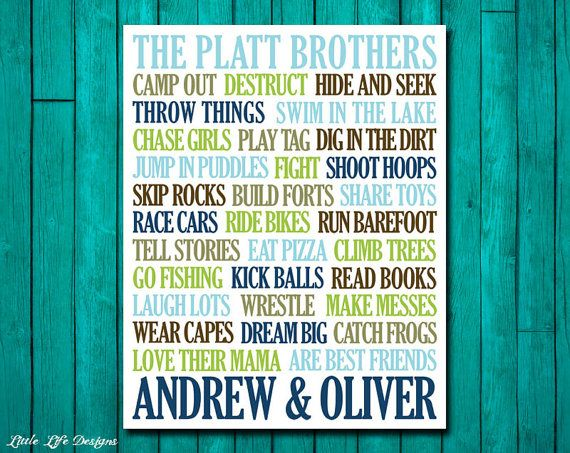 Brothers Wall Art. Boys Room Decor. Brothers Sign. Boy Nursery Decor. Big Brother Little Brother. Twins. Brothers Art. Brother Decor. Boys. on Etsy, $8.00