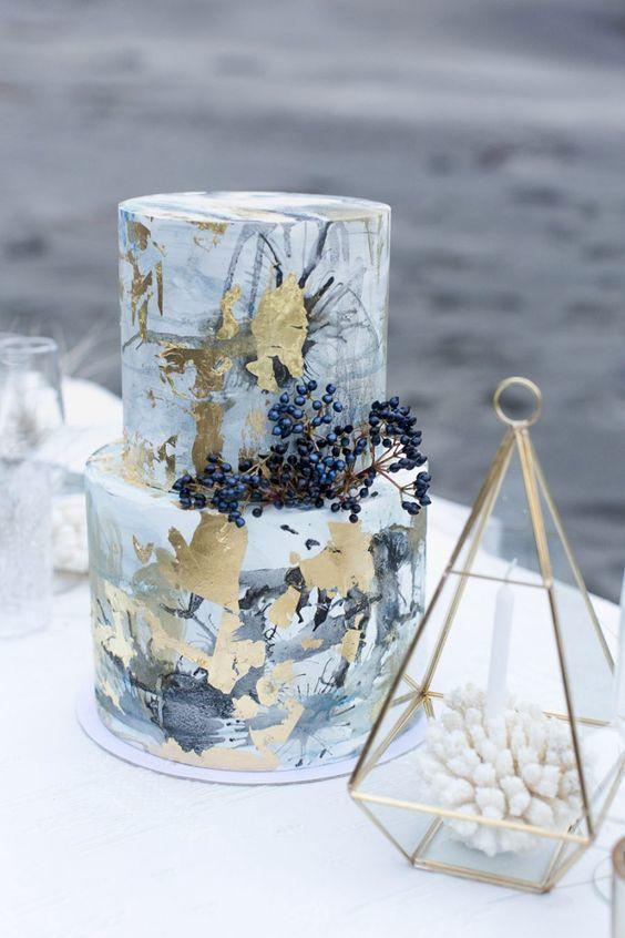 ink and gold leaf wedding cake #creative #wedding #cake