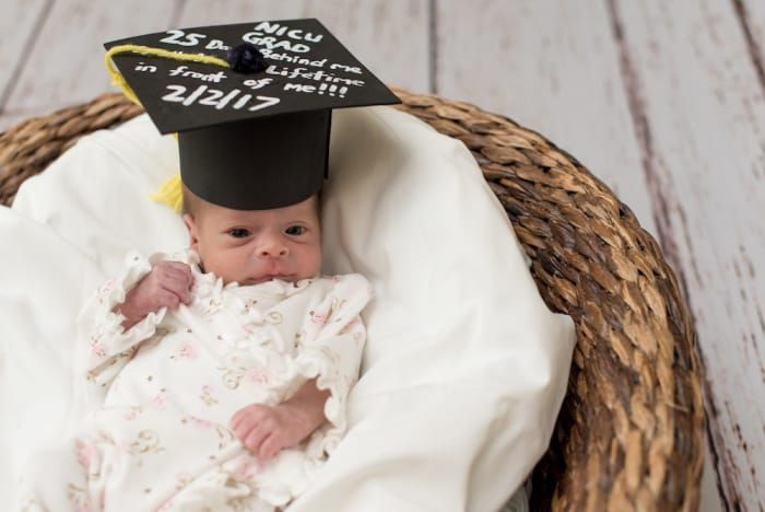 """""""When I started the program, I called Bella Baby Photography — they take pictures of all our babies going home —and asked if they could come photograph the NICU grads, and the photographer actually offered to give these pictures to the parents free of charge,"""" Jordan said. Now each family can go home with a graduation portrait of their NICU grad to cherish."""