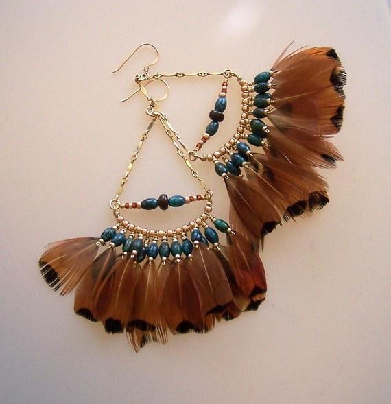 feather fan earrings