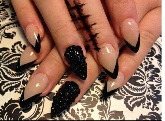 Black Tip Nail Art Stiletto
