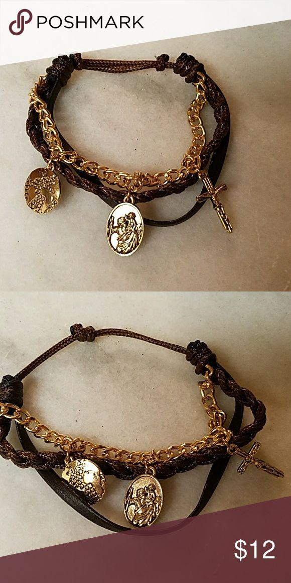 New Christian Bracelet Brand New Christian Brown with Gold 3 bracelet with Knot Tightening. Other