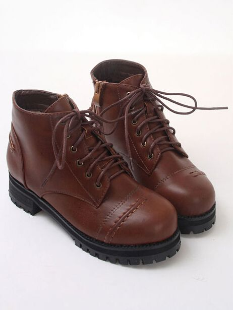 Brown Vintage Round Toe Lace Up Zipper Side Boots 38.80