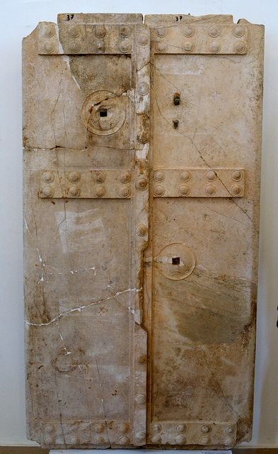 Door from the vaulted tomb under the 'Heroon' at Calydon. Archaeological Museum of Agrinion (Ministry of Culture site) Agrinio, Aitoloakarnania, Greece