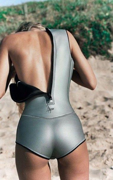 Swimwear: neoprene one piece swimsuit surf beach silver metallic
