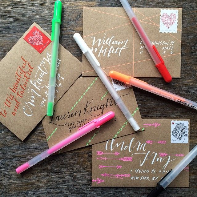 Brown paper - colourful gel pens. Mail envelope addressing. Caligraphy, design, crafts, lines, simple easy beautiful snail mail.