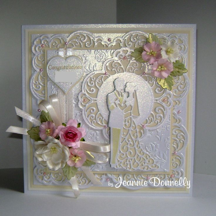 Wedding Day Card using dies from Creative Expressions / Sue Wilson, Frames & Tags Collection - Maggie, Camellia Complete Petals - Leaves, The Happy Couple, and the Wild Roses Embossing Folder. Also using Nellie Snellen, Hearts.