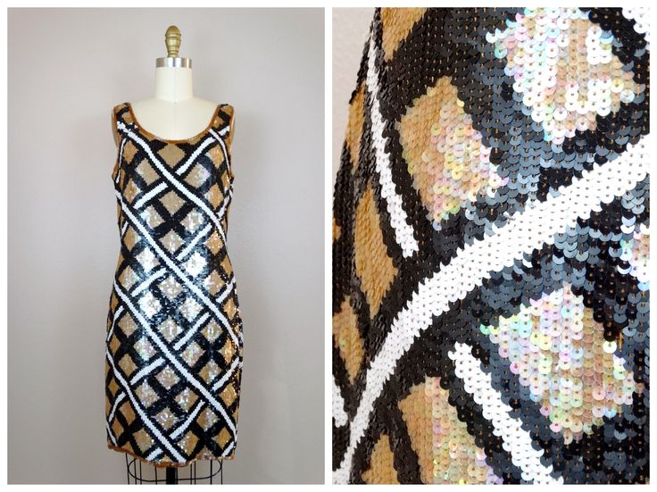 VTG Criss Cross Sequin Dress / Plaid Sequined Dress / Black and White Beige Brown Gold Dress / Checkered Designer Dress Large L by braxae on Etsy