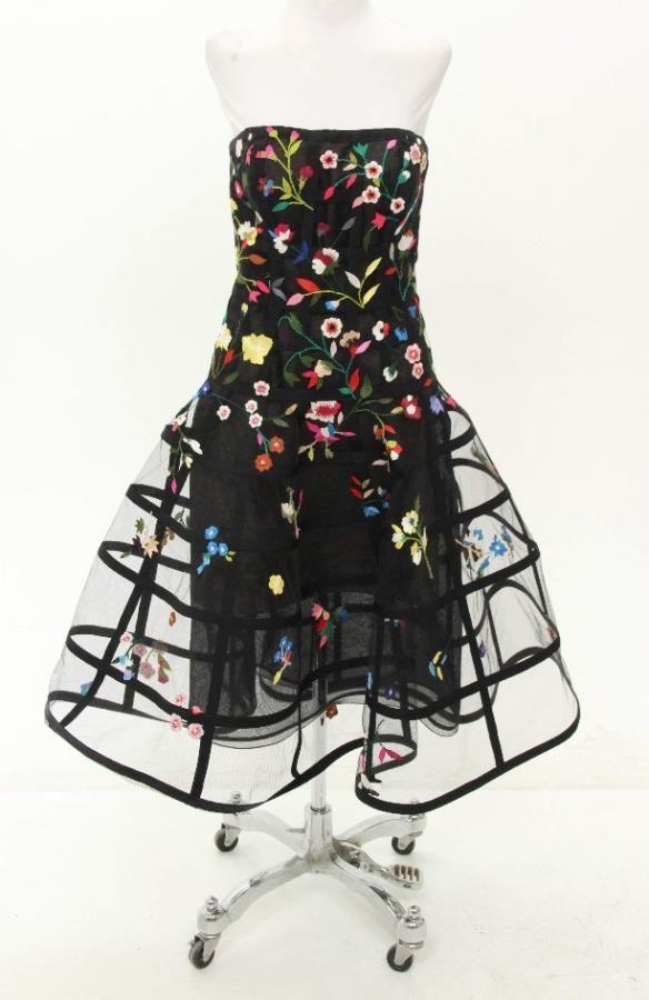Oscar de la Renta Black Floral Embroidered A-Line Dress R15 Size 2  | eBay